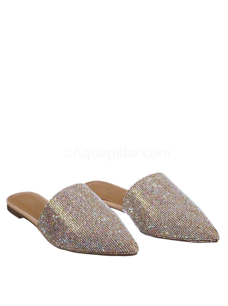 Nude Beige / Valentine1 Nude Rhinestone Crystal Pointed Toe Mule - Women Bling Party Slipper