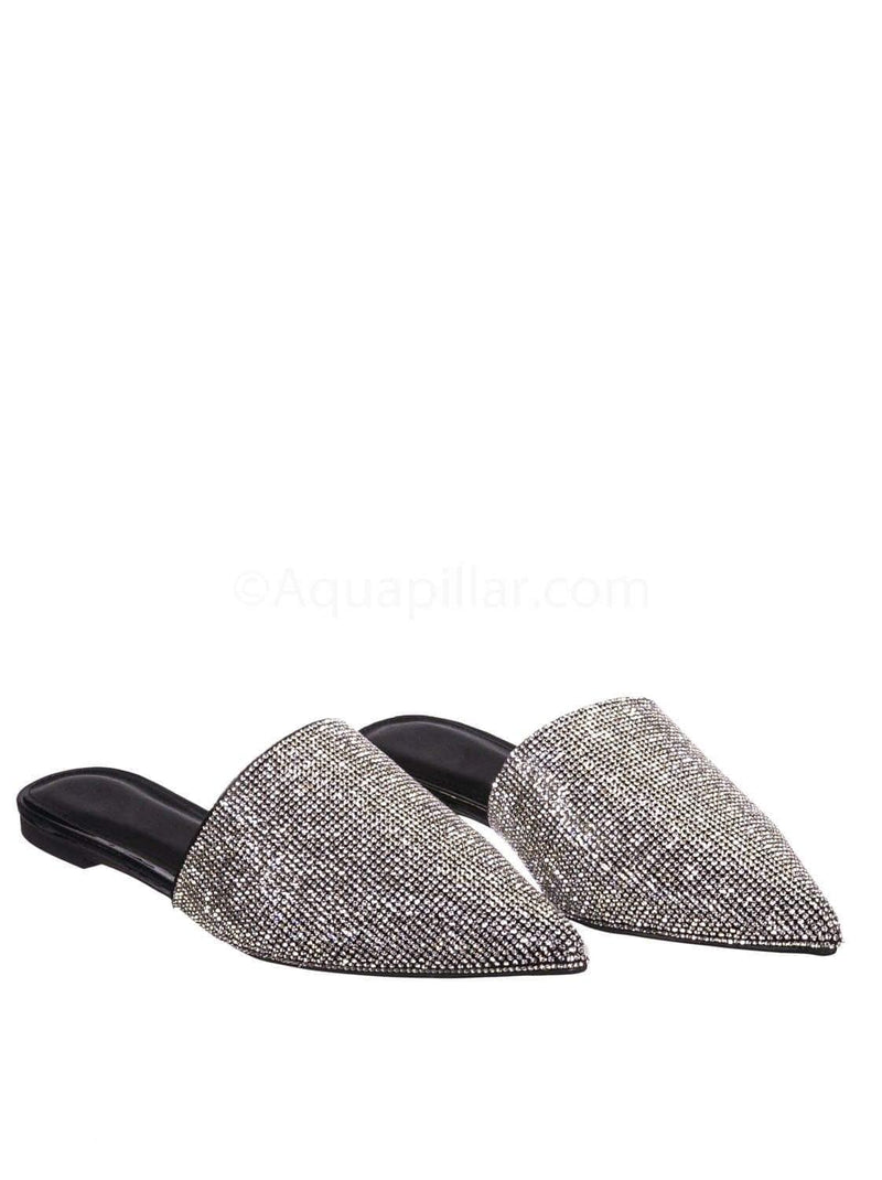 Black Pu / Valentine1 Black Rhinestone Crystal Pointed Toe Mule - Women Bling Party Slipper
