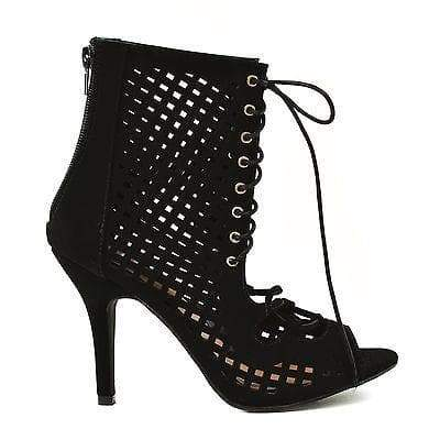Willow45 Black By Glaze, Perforated Cutout Lace Up Open Toe Ankle Bootie Sandal High Heel