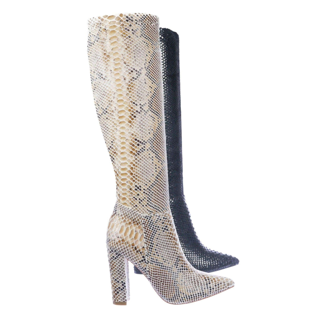 Zera1 Snake Embossed Boots - Women Pull On Chunky Block High Heel
