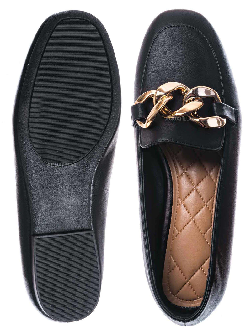 Black / Reaching25 Chained Flat Loafer - Comfortable Quilted Insole Slip On Shoes