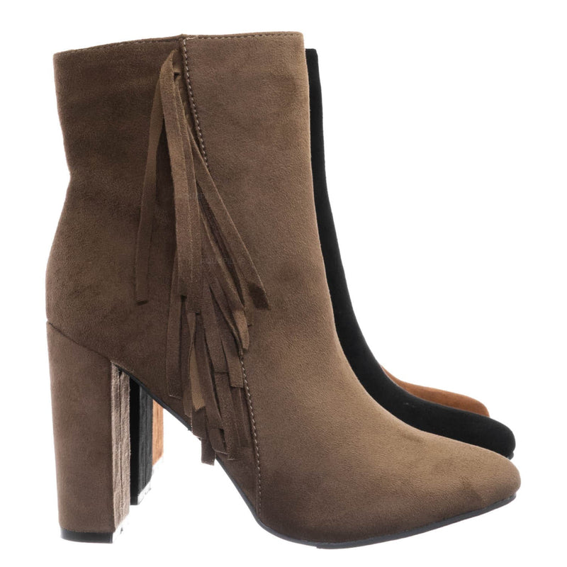 Lisa12 20s Retro Fringe Ankle Bootie - Flappy Tassel Block High Heel Dress Boots