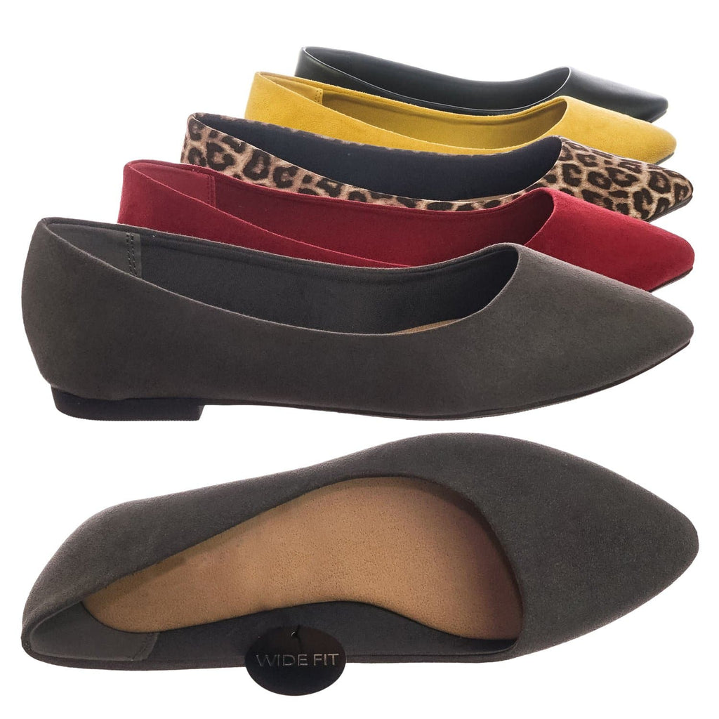 Black Pu / Hold Pointed Toe Foam Padded Ballet Flat - Wide Width Women Comfort Loafers