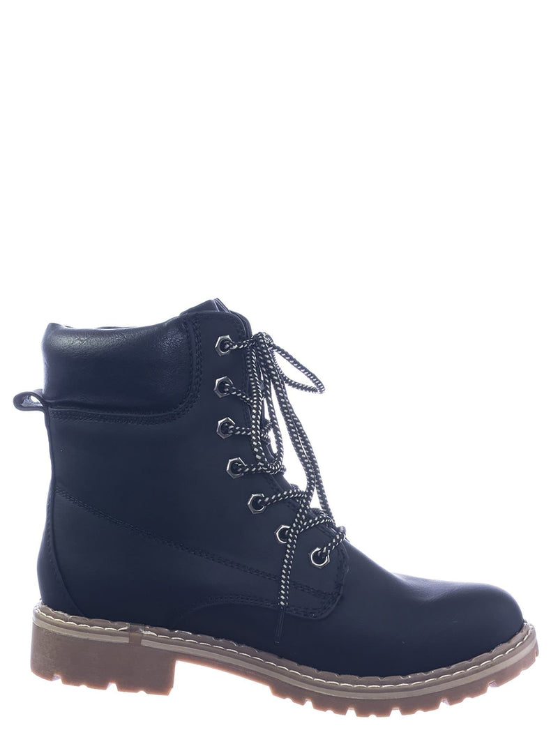 Black / Broadway3 Military Fashion Combat Boots - Lace Up Threaded Lug Sole Ankle Bootie