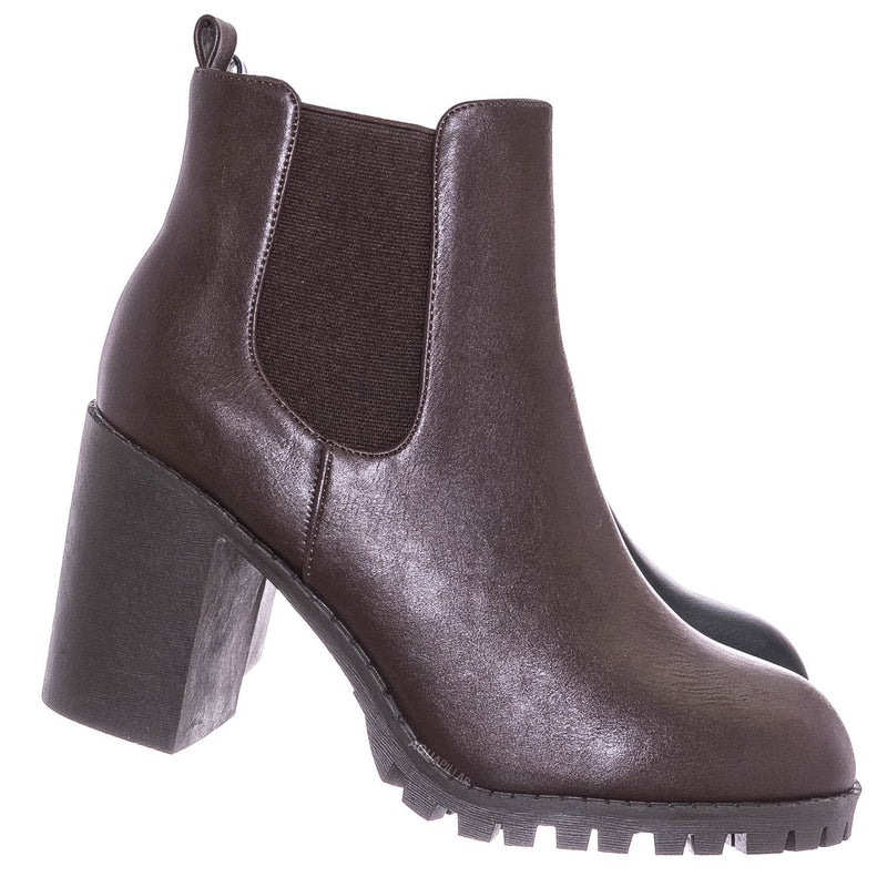 Michi72 Block Heel Chelsea Bootie - Threaded Lug Sole Ankle Dress Boots
