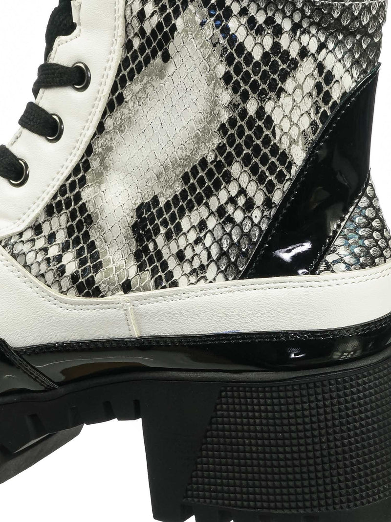 Black White Snake / Soldier01 Black White Snake Laced Up Combat Ankle High Boots - Womens Military Flatform Shoes