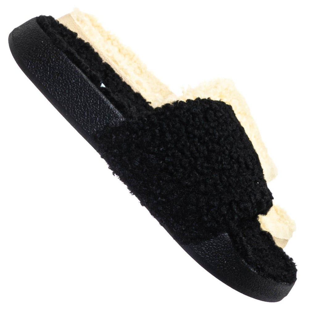 Black / Victory01 Faux Fur Molded Footbed Slipper - Shearling Shearling Slide Sandals
