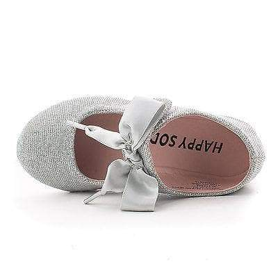 NayaIISQ By Soda, Infant Girl Shimmering Velcro Bow Slip Mary Jane Dress Flats