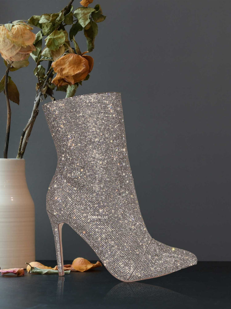 Hibiscus56 Rhinestone Stiletto Bootie - High Heel Shimmering Dress Ankle boots