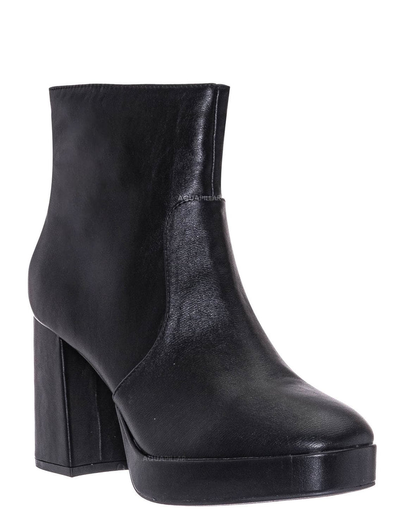 Black Crp / Underlined01 Platform Block Heel Bootie - Women Croc & Suede Ankle Pump Boot