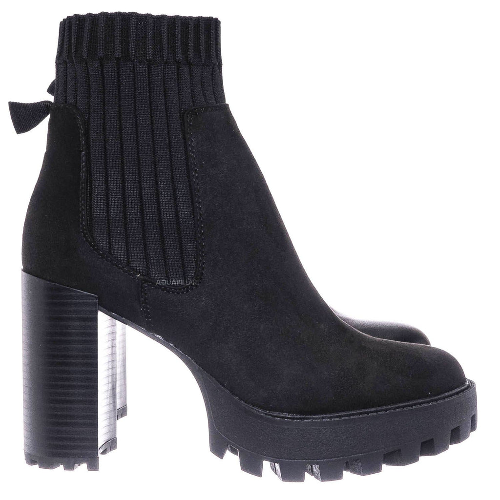 Black Faux Suede / Intense01 Chelsea Boots w Elastic Knit Sweater Sock - Threaded Lug Sole Bootie