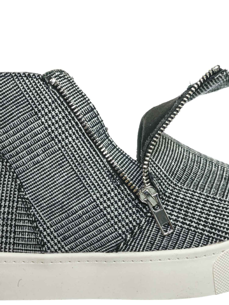 Black White Plaid / Taylor High Top Hidden Wedge Sneaker  - Women Zipper Laceless Round Toe Shoe