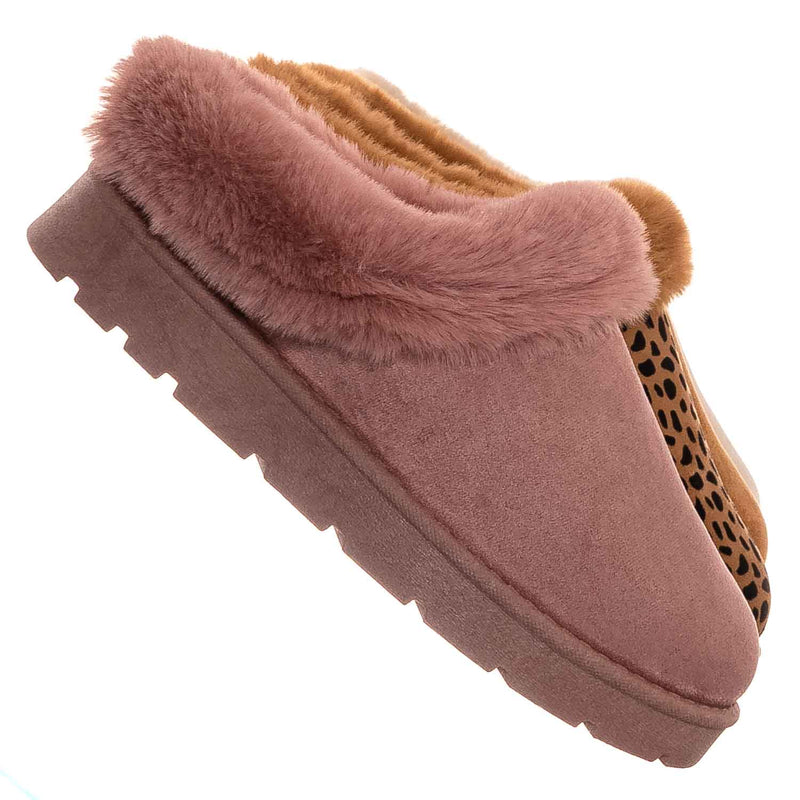Blush Pink / Frozen31 Faux Fur Moccasin Slipper - Winter Fluffy Cozy Bootie