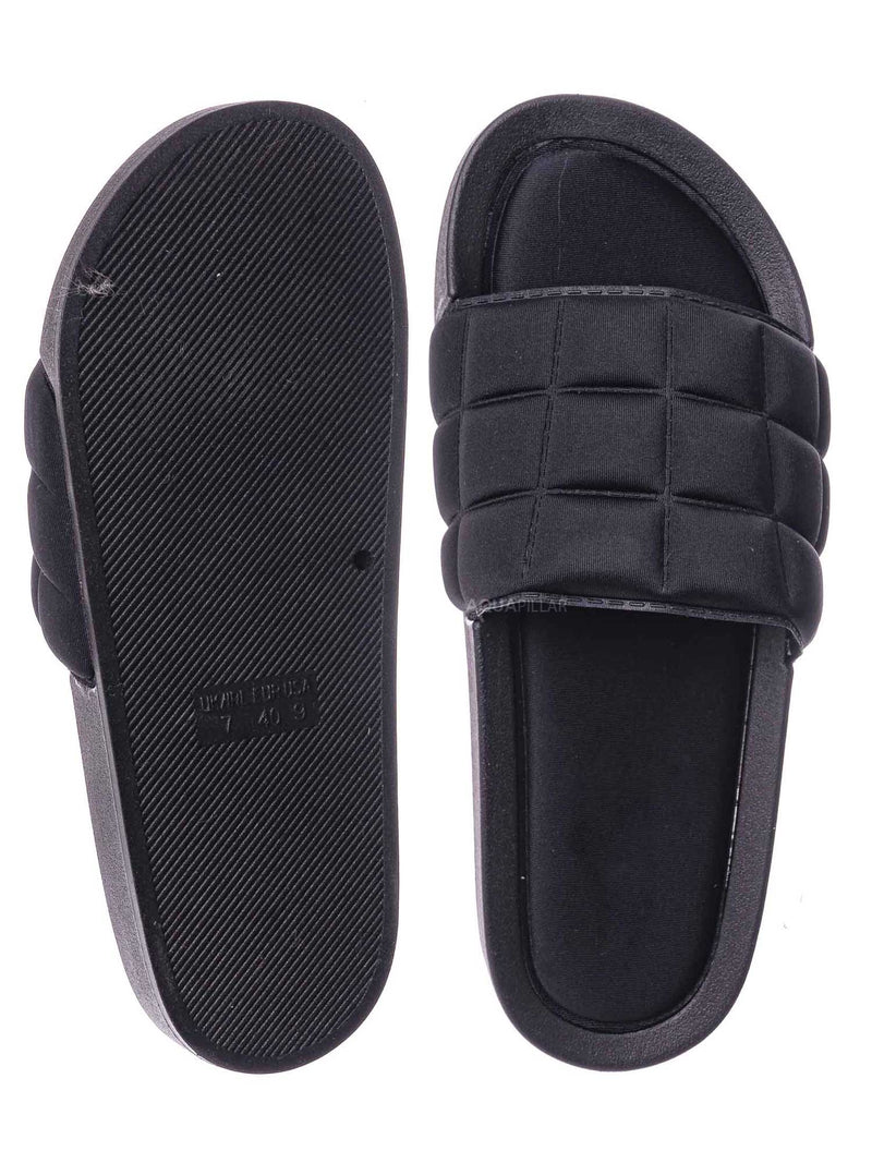 Black / Comex16 Boho Quilted Padded Sandal - Women Slide Molded Footbed Slipper Sandal