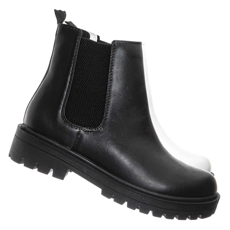 Black / Pilot Threaded Lug Sole Chelsea Ankle Bootie