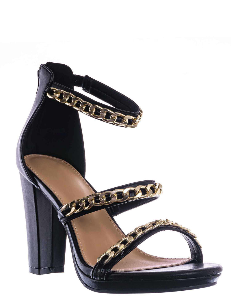 Black / Choo28 High Heel Chain Sandal - Womens Block Heel Strappy Open Toe Shoes