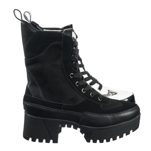 Soldier01 Black Multi Laced Up Combat Ankle High Boots - Womens Military Flatform Shoes