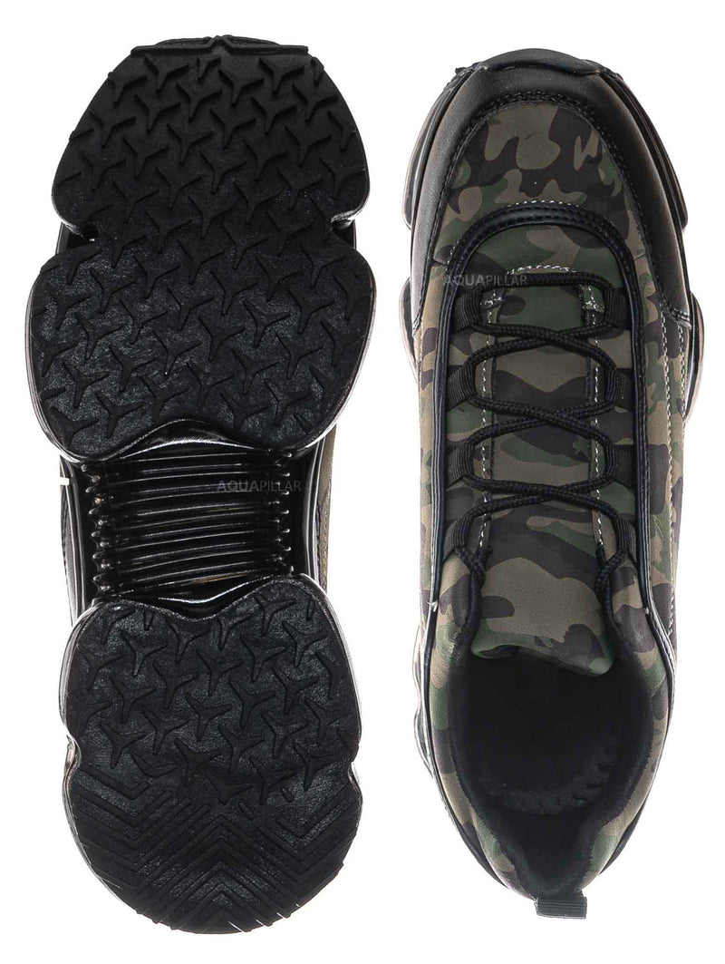 Camouflage / Flow29 Chunky Translucent Clear Bottom Sneakers