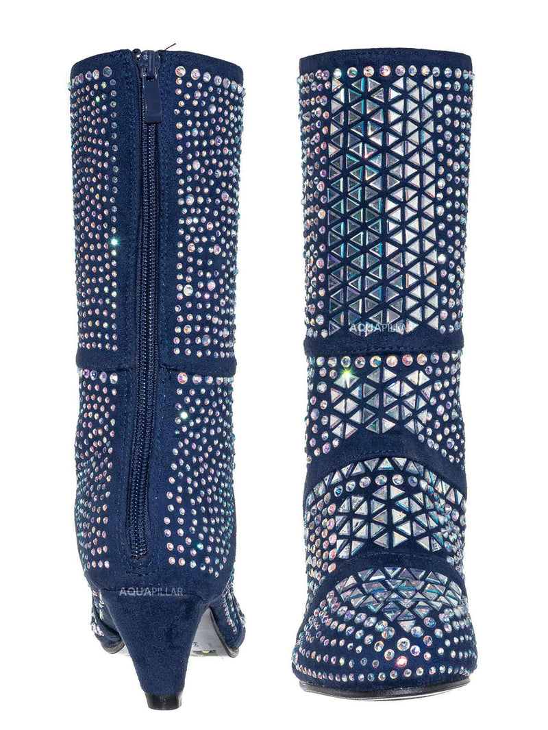 Blue / Event99K Kids Tall Rhinestone Crystal Glitter Boots - Girl Shimmering Dress Shoe