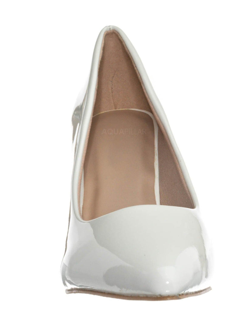 White / Sanzi2 Low Stiletto Heel Pumps - Slip On Dress Shoes Solid Or Animal Prints