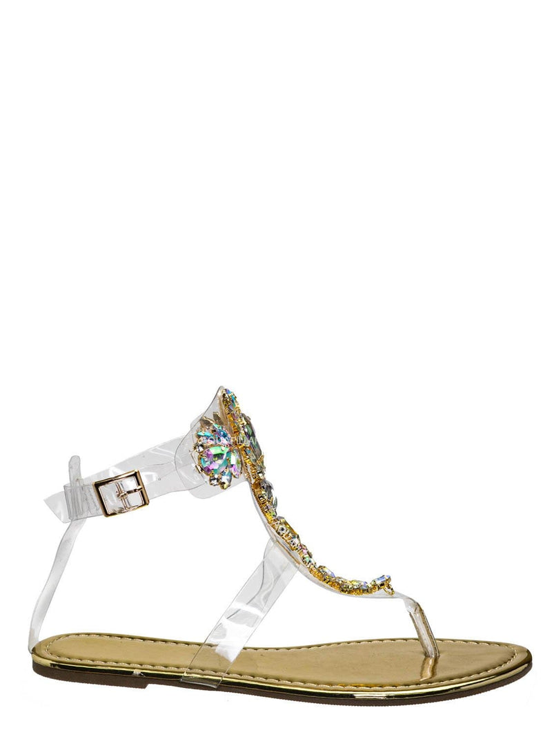 Gold / Marlo29 Lucite Clear Rhinestone Embellished Sandal - Transparent Strappy Flats