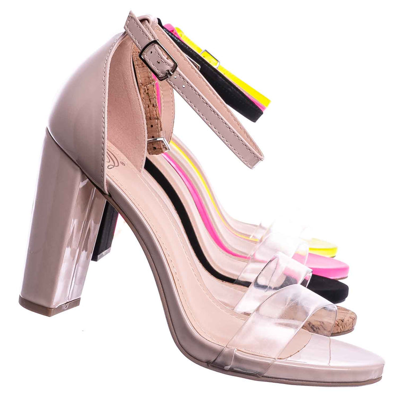 Beige Patent / Share Block Heel Lucite Sandal - Women Chunky Open Toe w Transparent Strap