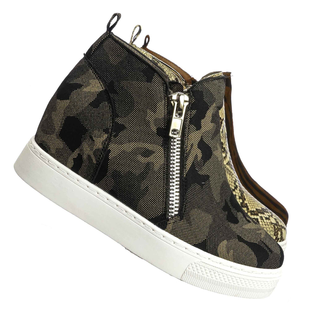 Gray Camouflage / Rise09 Hidden Wedge Platform Sneaker - Women Animal Print Fashion Athletic Shoes