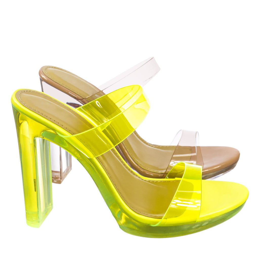 Known Clear Acrylic Platform Heel Sandal - Womens Cinderella Neon Clear Slipper