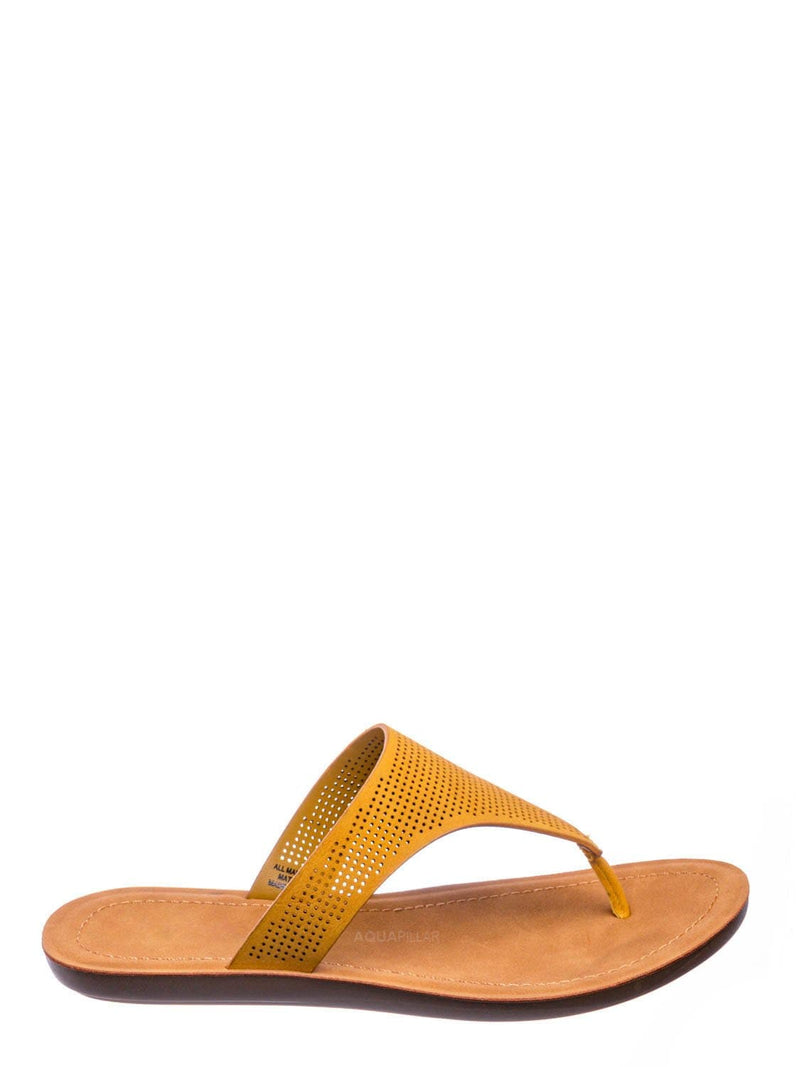 Mustard Yellow / Mikayla Perforated Footbed Thong Sandals - Womens Light Weight Yoga Slides