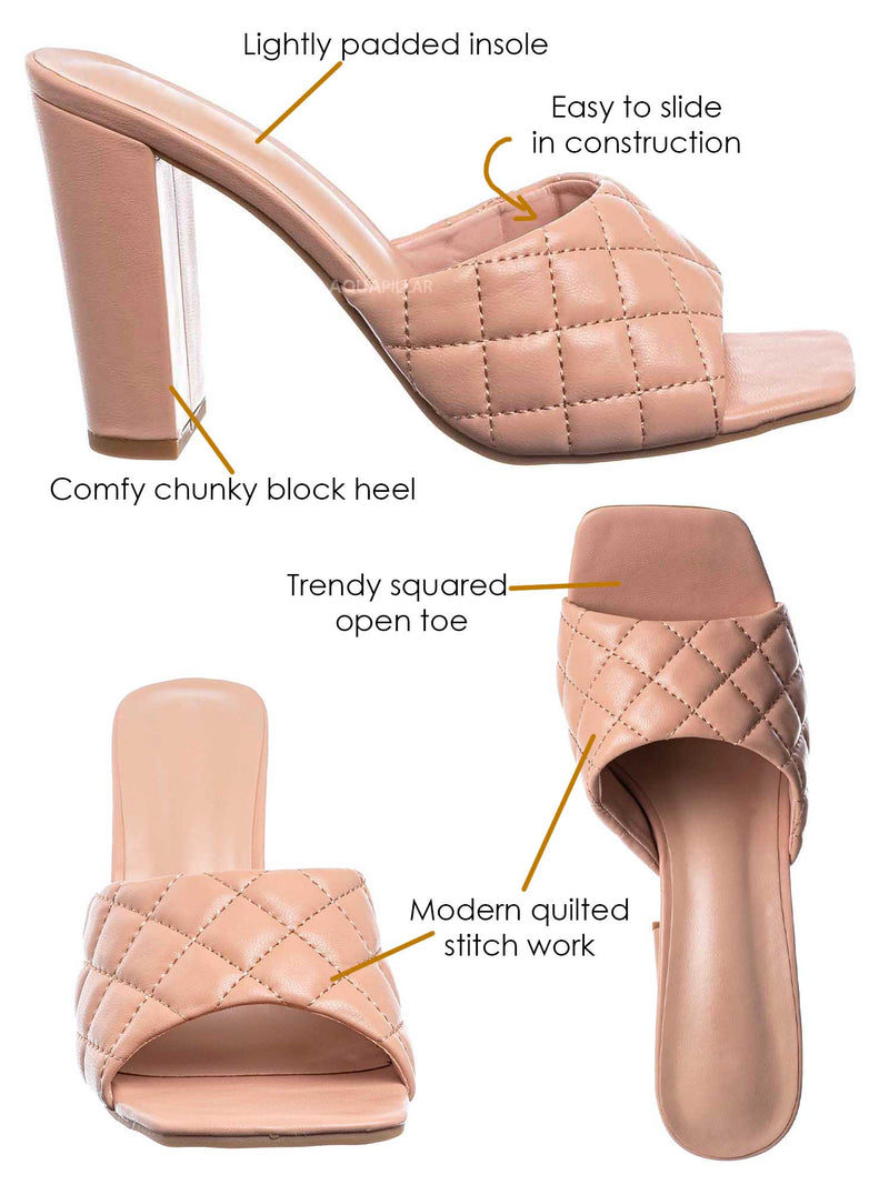 Nud Beige / Pita1 Quilted Block Heel Mule - Women's Slide In Open Square Toe Shoes