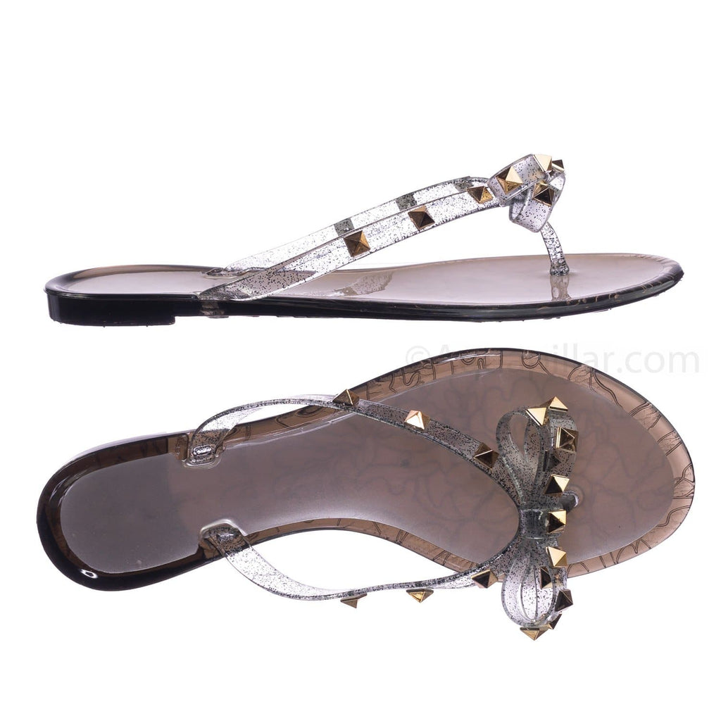 Light Gold Pvc / Joanie173 BlkPvc Rockstud Clear Lucite Jelly Slides - Women Flat Sandal Flip Flops