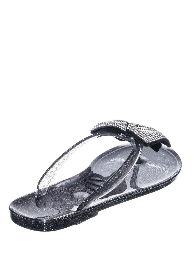 Black PVC / Joanie196 Black PVC  Clear Jelly Rhinestone Thong Sandal- Translucent Lucite Thong Slipper