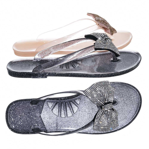 Joanie196 Black PVC  Clear Jelly Rhinestone Thong Sandal- Translucent Lucite Thong Slipper
