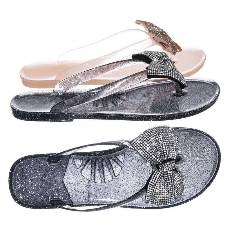Joanie196  Clear Jelly Rhinestone Thong Sandal- Translucent Lucite Thong Slipper
