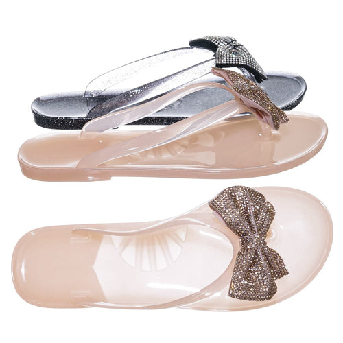Joanie196 Nude Beige  Clear Jelly Rhinestone Thong Sandal- Translucent Lucite Thong Slipper