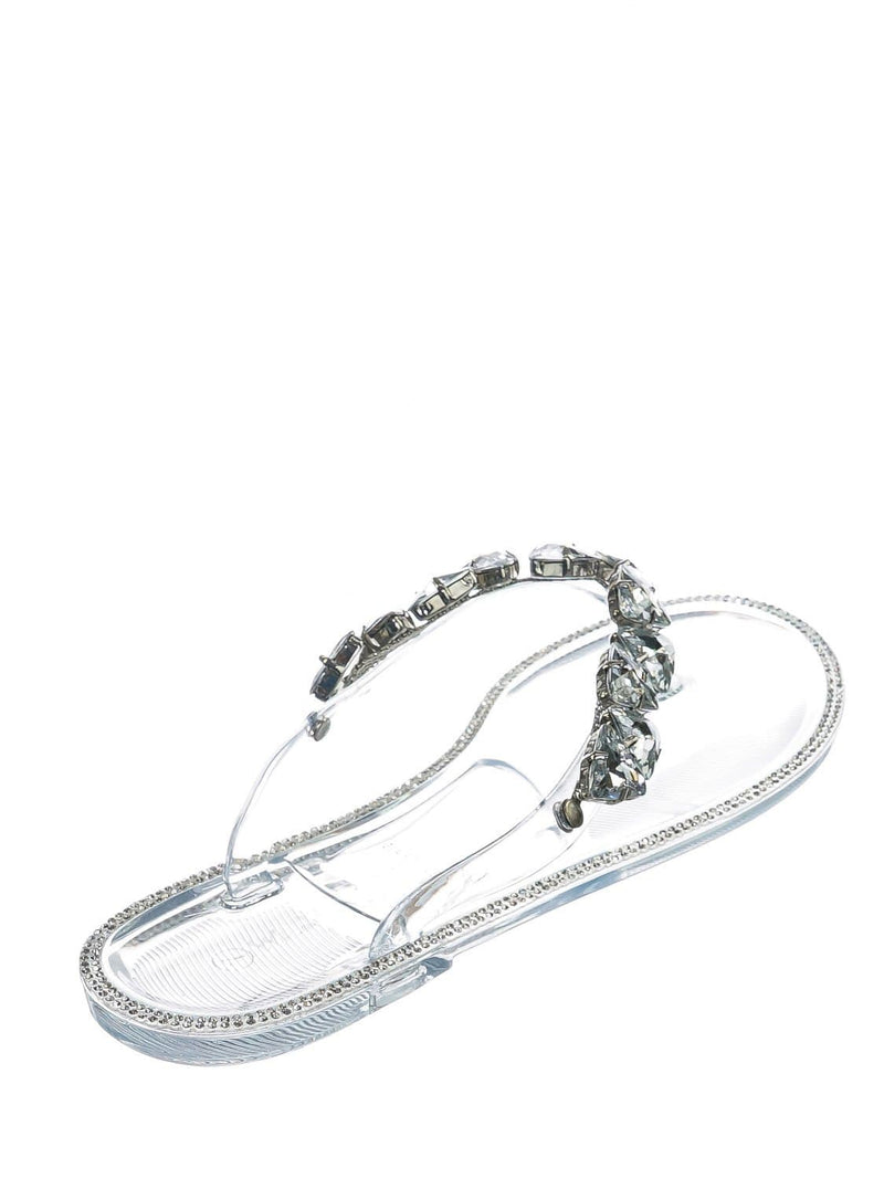 Clear Pvc / Joanie214 Clear Pvc Lucite Rhinestone Crystal Jelly Sandal - Jelly Thong Flip Flip