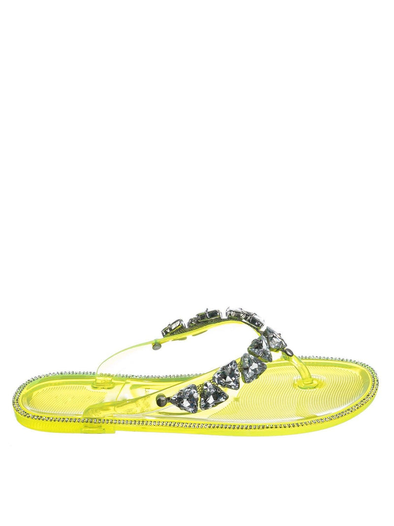 Yellow Pvc / Joanie214 Yellow Pvc Lucite Rhinestone Crystal Jelly Sandal - Jelly Thong Flip Flip