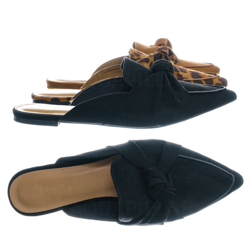 Black F-Suede / Justify45 Pointed Toe Slip On Mule Slippers - Women Flat Backless Flat Pump