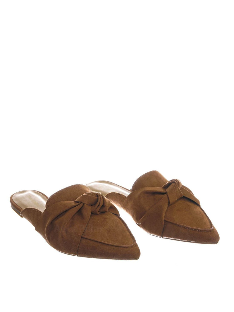 Camel Brown / Justify45 Pointed Toe Slip On Mule Slippers - Women Flat Backless Flat Pump