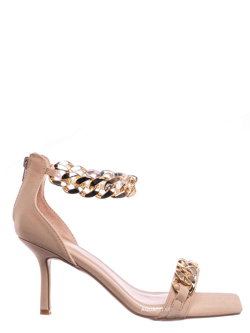 Nud Beige / Zeal09 Two Piece Chain & Lucite Strap Sandal - Women Transparent Heel Stiletto