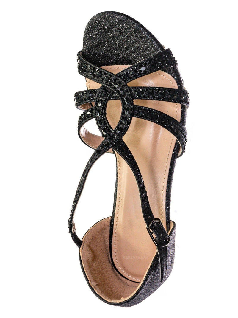 Black Glitter / Lyla6 Girls Rhinestone Crystal Sandal- Childrens Open Toe Glass Heel Sandals
