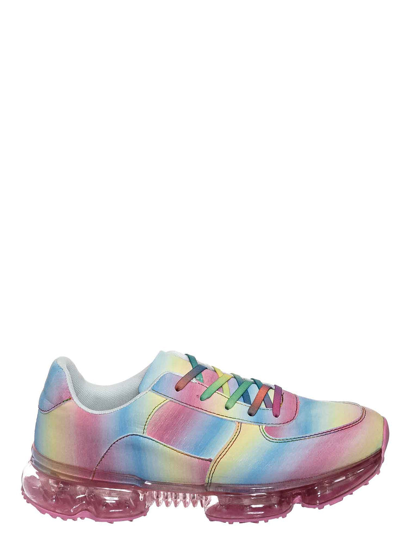 Rainbow / Flow19 Stretch Elastic Mesh Sneaker - Festival Lace Up Rubber Air Bubble Cushion