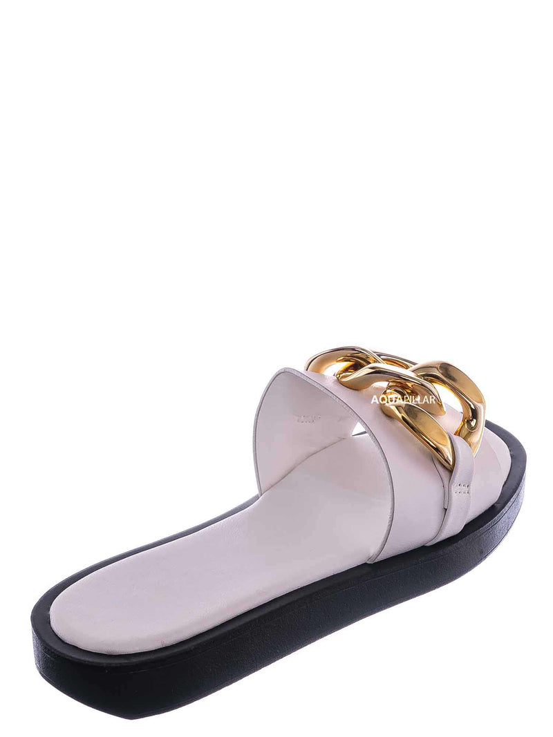 White / SideKick11 Padded Flatform Slpper w Oversize Chain - Womens Molded Footbed Slide