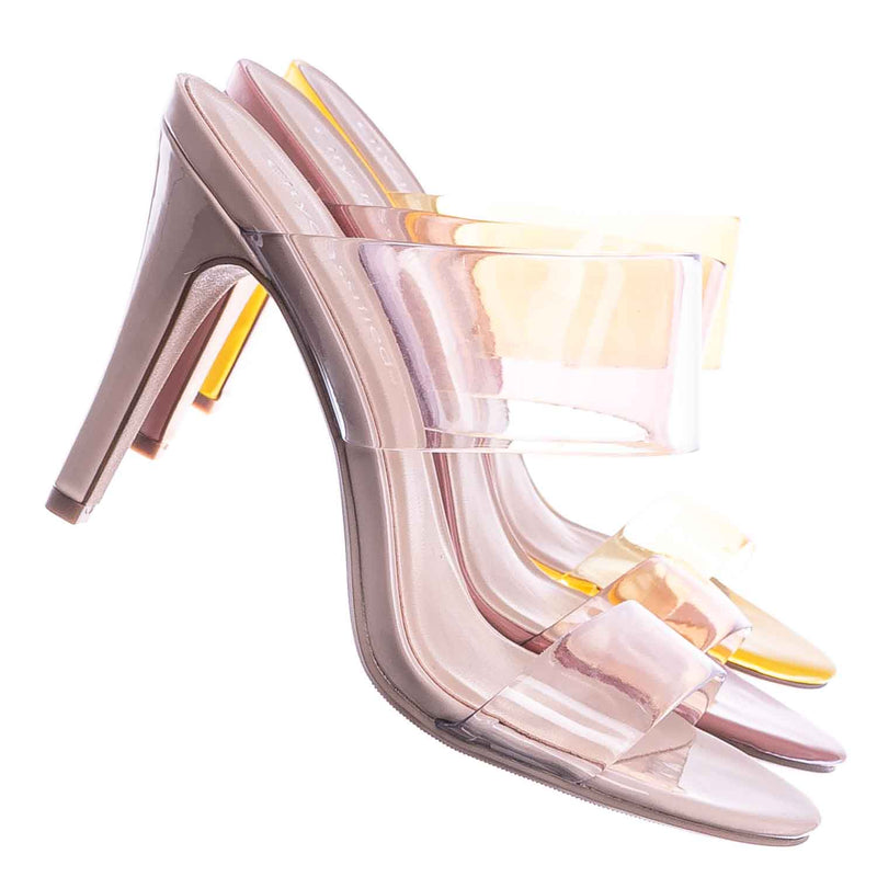 Lisa Clear Lucite Glass High Heel Slipper - Women Vinyl Slip On Mule Sandal