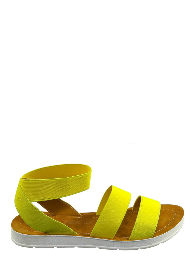 Neon Yellow / Sushi Lightweight Elastic Flatform Sandals Slip On - Womens Open Toe Flat Shoe