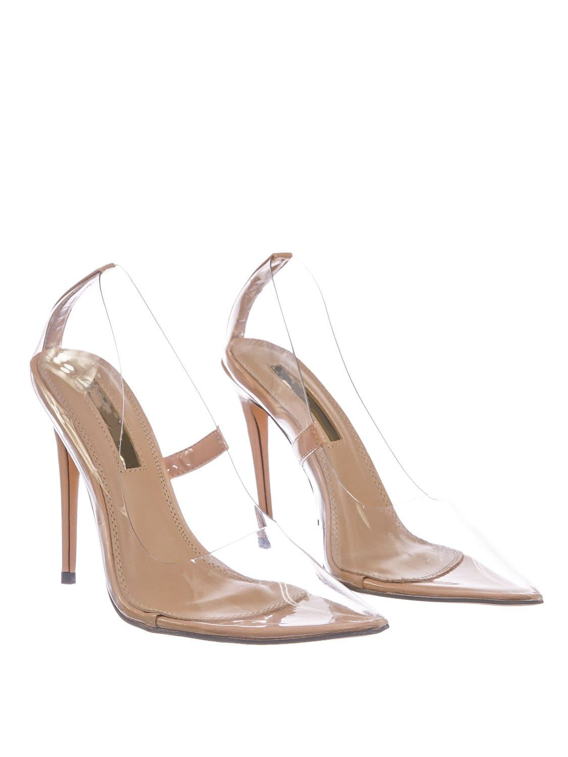 Kimye1 Nude Lucite Clear High Heel Dress Pump - Women Neon Pointed Toe Stiletto