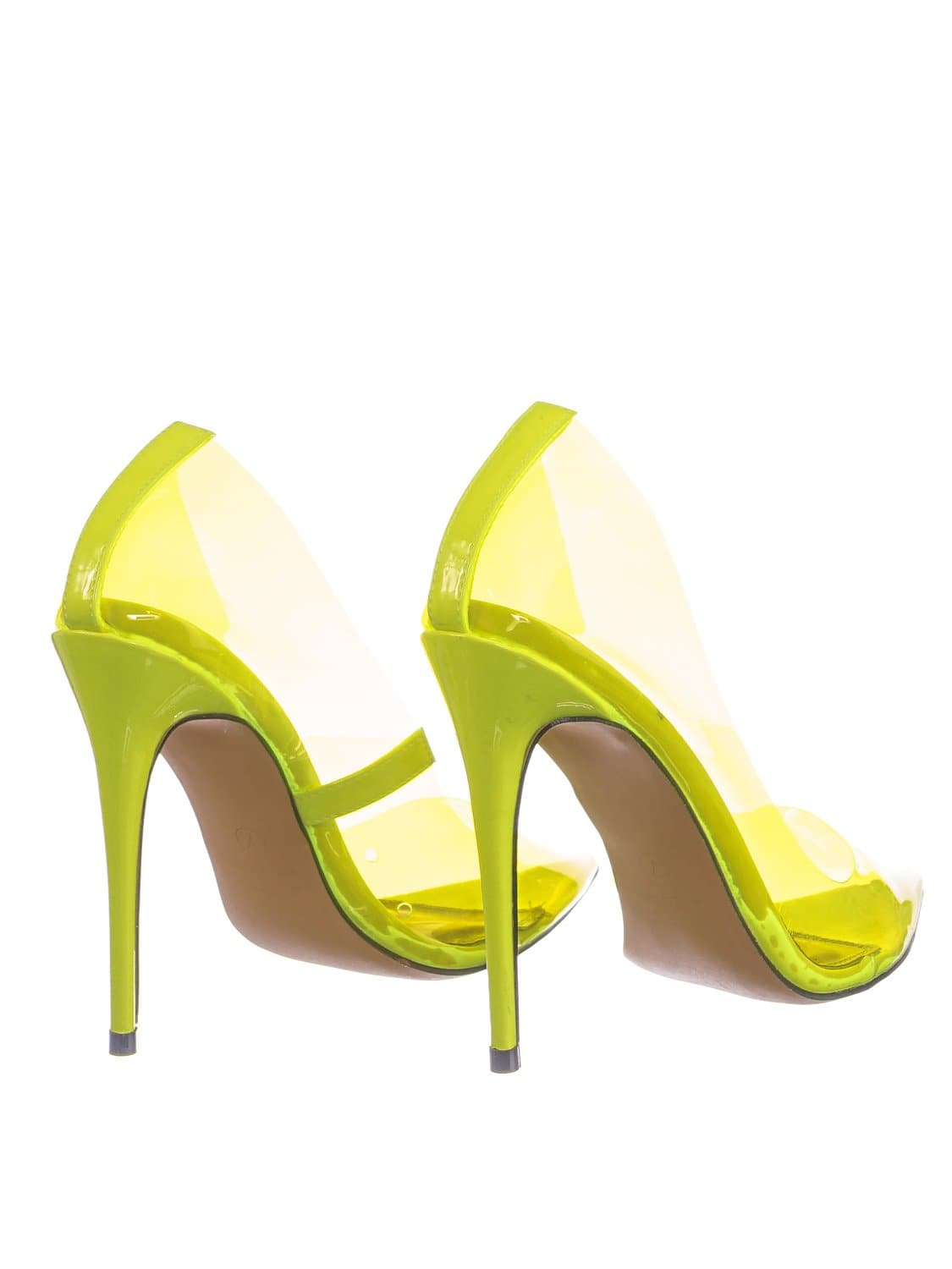 Kimye1 NLime Lucite Clear High Heel Dress Pump - Women Neon Pointed Toe Stiletto