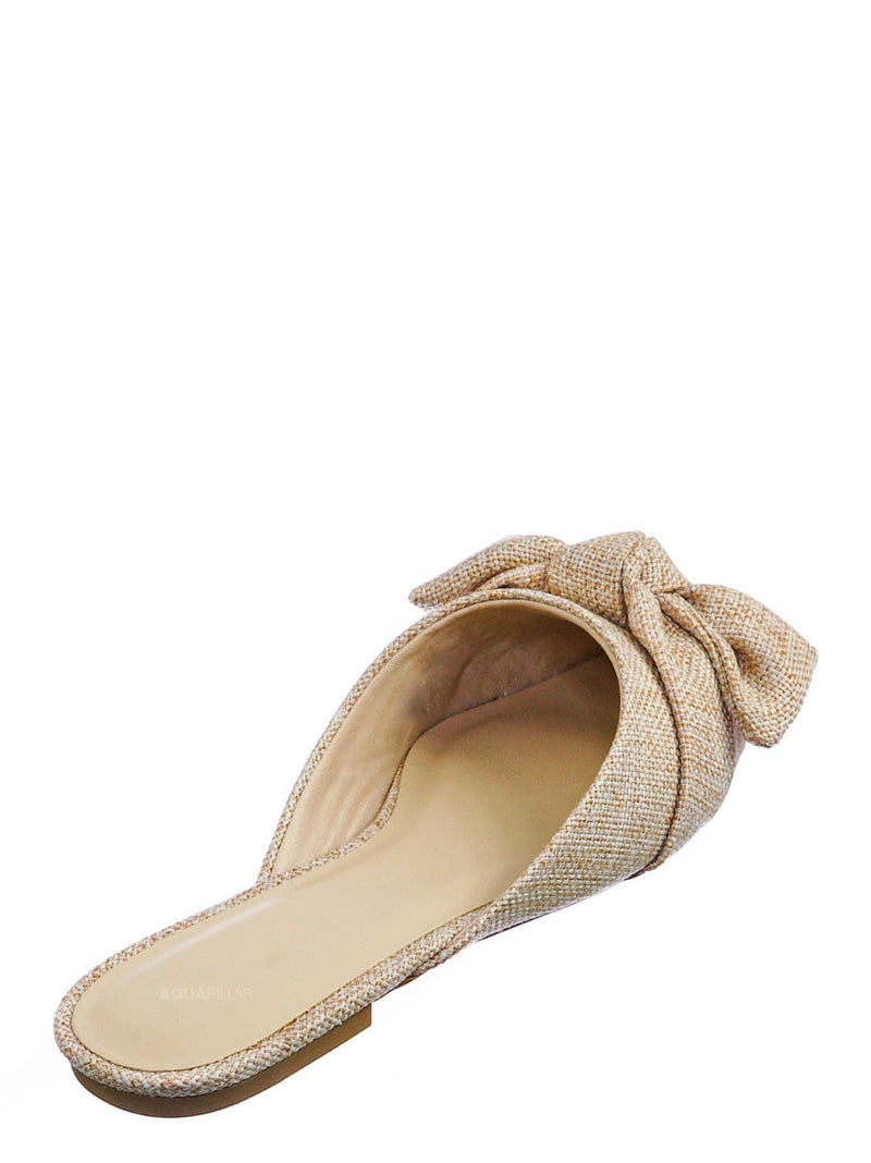 Beige Linen / Justify52 Bowtie Mule Loafer Flat Slides - Womens Pointed Toe Backless Slipper