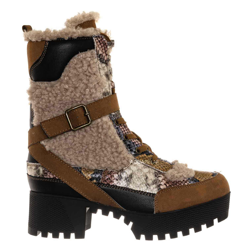 Powerful42 Faux Fur Lined Multi Colored Combat Boots