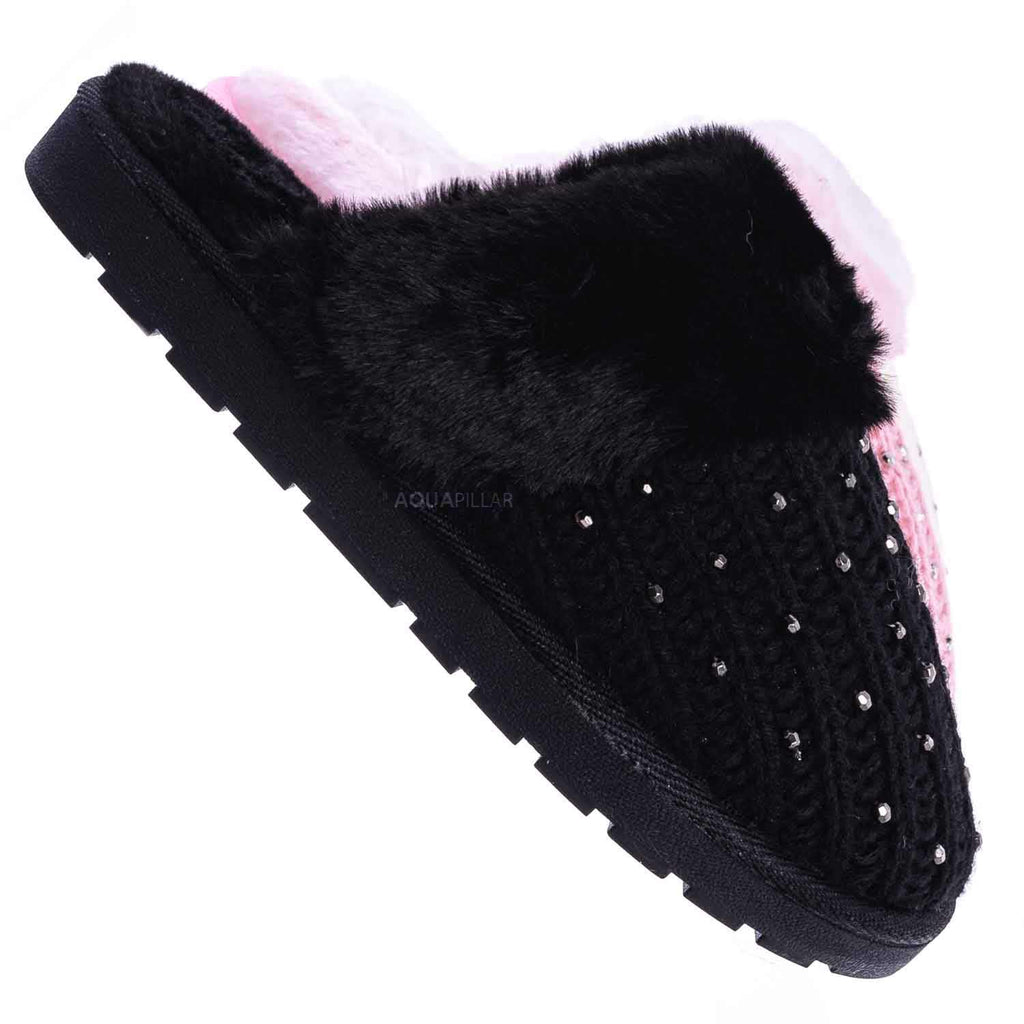 White Sweater / Snuggle06 Furry Flatbed Sweater Moccasin Slipper -Women Knitted Fur Winter Slide